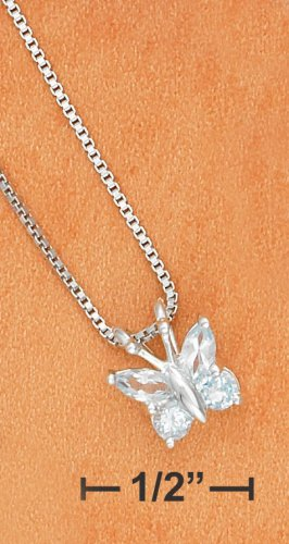 STERLING SILVER PALE BLUE TOPAZ BUTTERFLY PENDANT ON BOX CHAIN