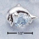 STERLING SILVER DOLPHIN W/ BLUE TOPAZ PENDANT **FREE SHIPPING**