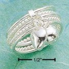 STERLING SILVER FIVE ALTERNATING ROWS OF  ROPE BAND RING W/ DANGLING CHARMS
