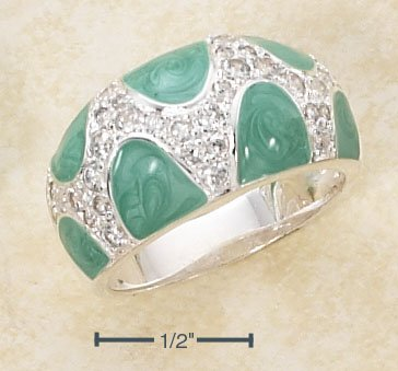 STERLING SILVER ENAMEL GREEN & PAVE CZ DESIGNER DOME RING  **FREE SHIPPING**
