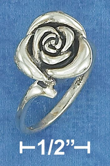 STERLING SILVER ANTIQUED  ROSE RING W/ WAVE BAND