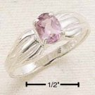STERLING SILVER PINCHED CHANNEL W/ OVAL AMETHYST RING **FREE SHIPPING**