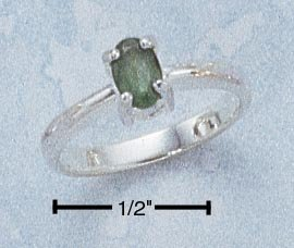 STERLING SILVER 6X4 OVAL EMERALD RING **FREE SHIPPING**