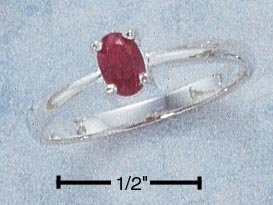 STERLING SILVER 6X4 OVAL RUBY RING **FREE SHIPPING**