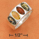 STERLING SILVER MARQUIS MULTICOLOR AMBER 4 STONE  RING