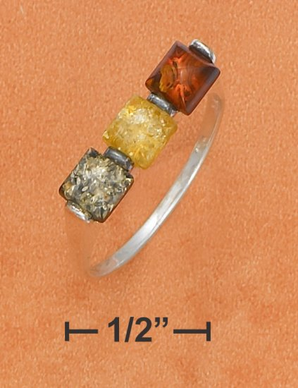 STERLING SILVER MULTICOLOR AMBER SQUARE 3 STONE RING