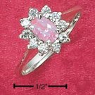 STERLING SILVER PINK CZ & CLEAR CZ FLOWER RING