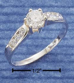 STERLING SILVER CZ RING W/ TRIPLE CZ ACCENTS **FREE SHIPPING**
