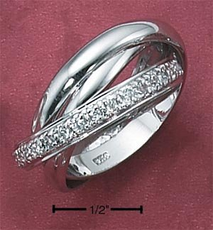 STERLING SILVER 3 BAND SLIDE RING W/ CZS **FREE SHIPPING**