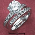 STERLING SILVER 2 PC SET ROUND CZ RING & BAND