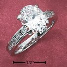 STERLING SILVER OVAL CZ RING W/ CHANNEL SET CZ BAND