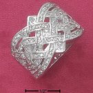 STERLING SILVER 17MM FANCY OPEN WOVEN CZ BAND  **FREE SHIPPING**