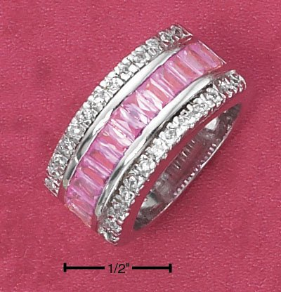 STERLING SILVER CHANNEL SET PINK BAGUETTES WITH CLEAR PAVE CZ EDGES BAND