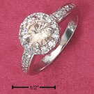 STERLING SILVER ROUND CHAMPAGNE CZ RING WITH PAVE SHANK