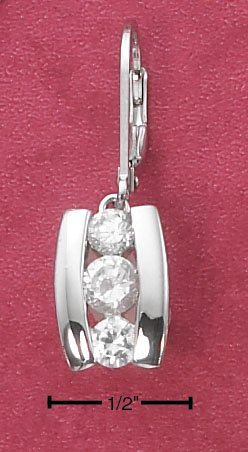 STERLING SILVER TENSION SET TRIPLE CZ LEARRINGS  **FREE SHIPPING**