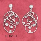 STERLING SILVER FANCY CZ FILIGREE EARRINGS **FREE SHIPPING**
