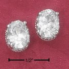 STERLING SILVER OVAL CZ EARRINGS W/ FANCY BASKET SETTING