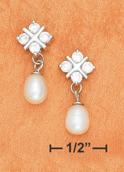 STERLING SILVER FRESH WATER PEARL AND CZ  EARRINGS **FREE SHIPPING**