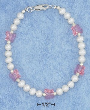 STERLING SILVER SWAROVSKI CRYSTAL AND FRESH WATER PEARL BRACELET