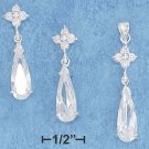 STERLING SILVER TEARDROP BRIOLETTE EARRINGS & PENDANT SET