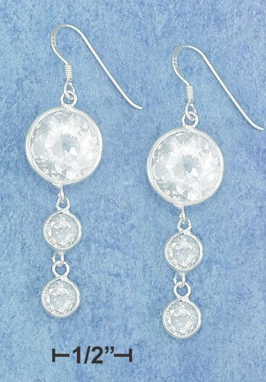 STERLING SILVER EARRINGS WITH CZ STONES   **FREE SHIPPING**