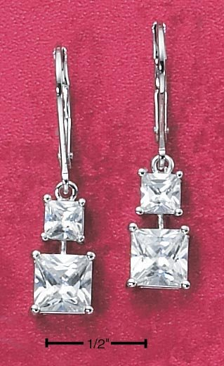 STERLING SILVER DOUBLE SQUARE CZ EARRINGS