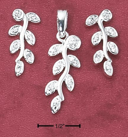 STERLING SILVER CZ VINE EARRINGS AND PENDANT SET **FREE SHIPPING**