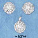 STERLING SILVER CZ EARRINGS & PENDANT SET **FREE SHIPPING**