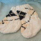 Hand Knit Cotton Argyle Baby Socks Booties White Yellow Black