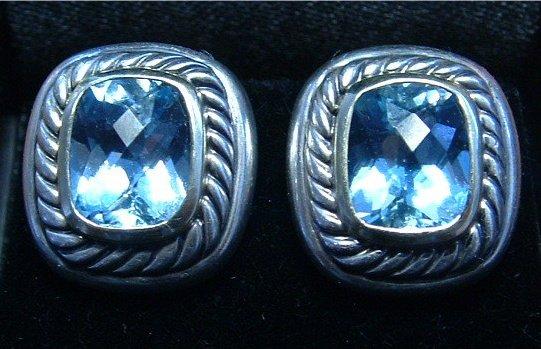 Authentic DAVID YURMAN Blue Topaz Earrings 925 Silver 585 14k Gold Clip-on