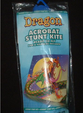 FLIGHT ZONE Dragon Acrobat Stunt Kite Dual Control 27x27 In with String and Holder