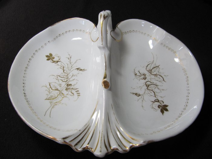 C. TIELSCH Antique China Divided Dish Relish White Gold Floral with Handle 12 In