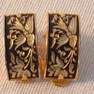 Vintage Damascene Gold Inlaid Bird & Floral on Black .75 Inch Clip Earrings and Brooch