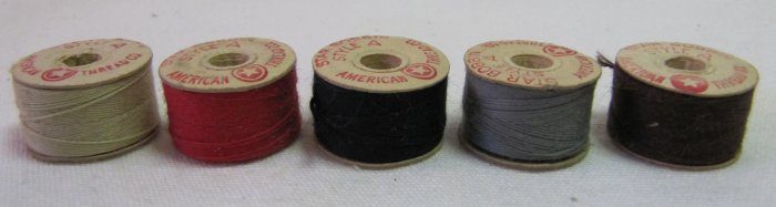 5 Prewound Cotton Thread Bobbins in Assorted Colors Size A 30 Yd Each