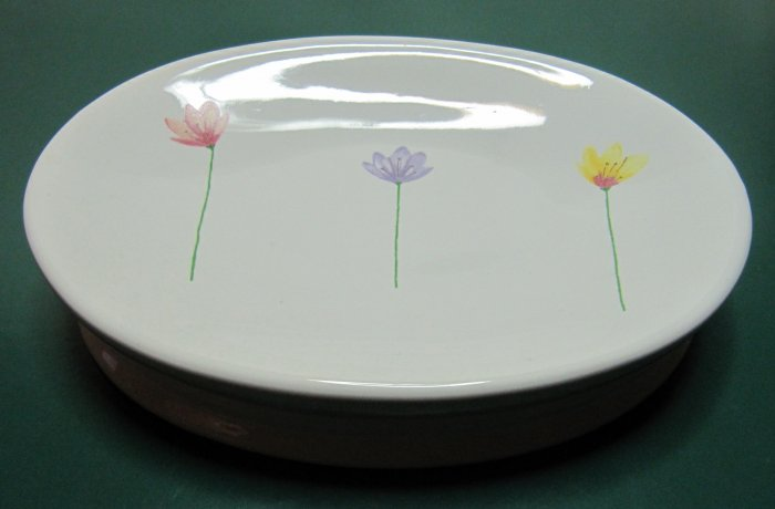 Pretty Little Tulips Soap Dish White China Oval 6 In Pastels