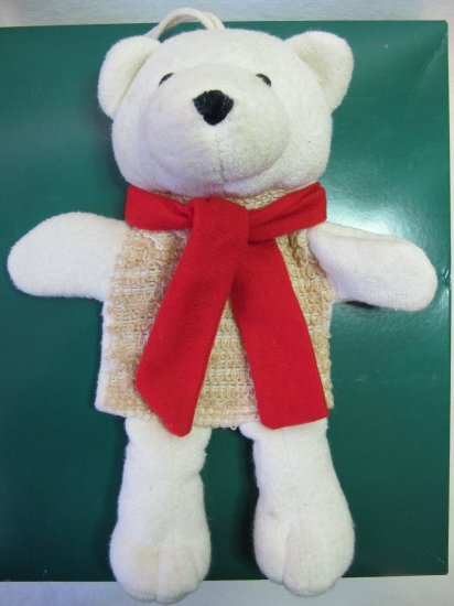 Cute Polar Bear Puppet Plush with Sisal Front Red Scarf