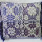 PENOBSCOT Handwoven Pillow Overshot Geometric Violet Purple 15x15 Fringed