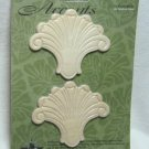 Hardwood Wood Accents Ornamental Birch Shell Fleur de Lis Pieces 3 Inches