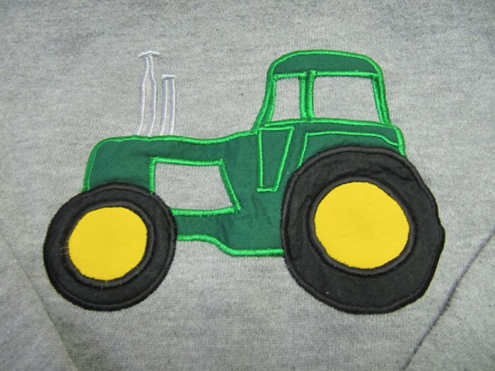 JERZEES Big Green Tractor Applique Sweatshirt Size Boys Med 8-10