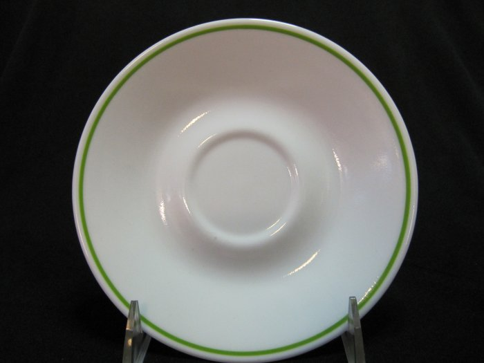 CORELLE White Saucer with Lime Green Trim 6.25 Inches