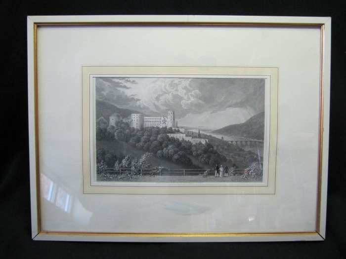 Antique Robert Batty Art Steel Engraving Heidelberg Germany 5x8 Framed