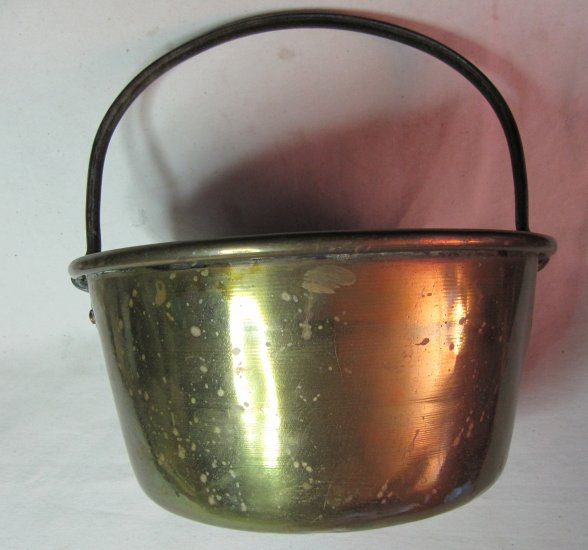 Vintage Brass Bucket 12x6 In with Hand Forged 6 In Tall Iron Handle