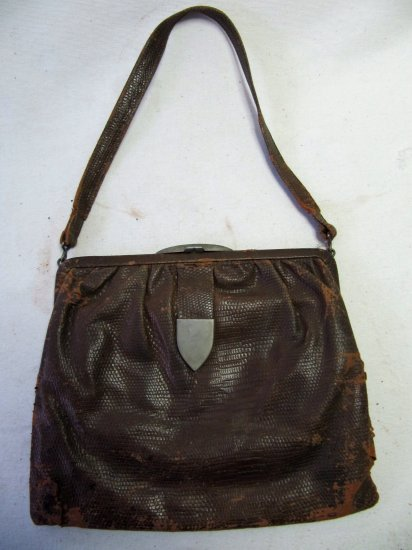 Vintage 1930s Brown Reptile Hide Skin Handbag Purse Germany 6x8