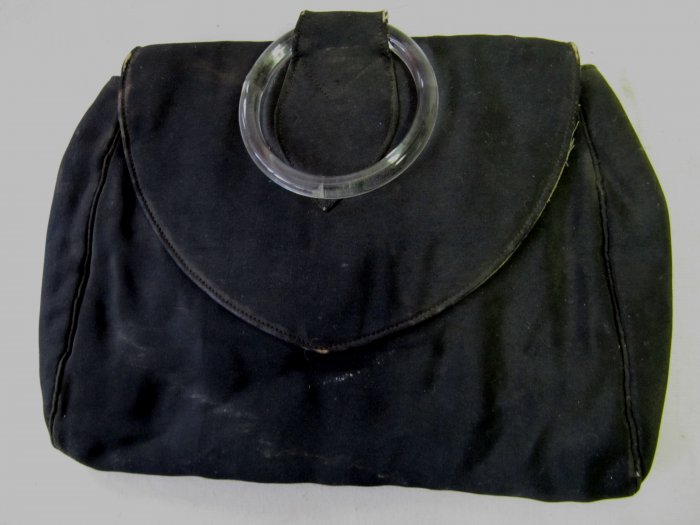 Vintage 1930s Black Clutch Purse Deco Glass Ring 6x8