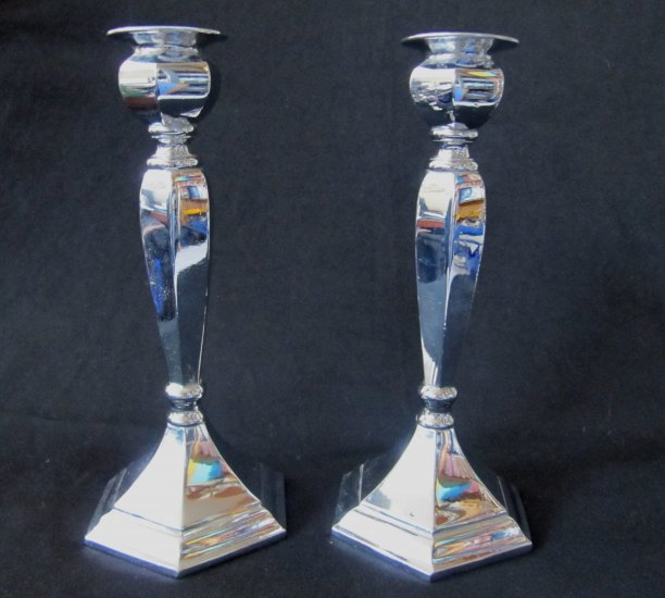 Vintage Pair Heavy Chrome Candlesticks Hex Base 8 Inches Tall