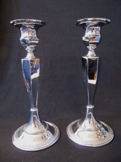 Vintage Pair Heavy Chrome Candlesticks Round Base 8.5 Inches