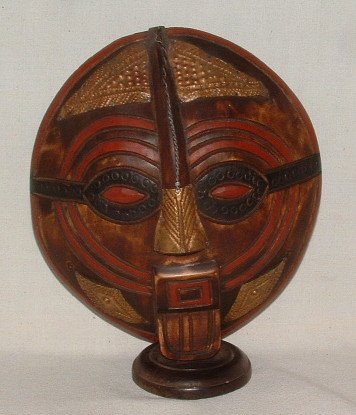 Vintage Hand Carved Ghanaian Bakota Shell Mask Brass Double Sided Two Faces on Base