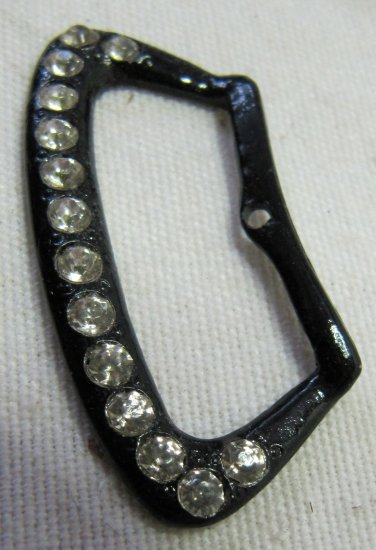 Vintage Rhinestone Studded Black Metal Buckle Button 1.75 In