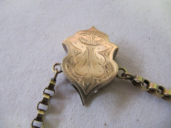 Antique Victorian Gold Plated Slider Engraved Floral Design 1.5 In