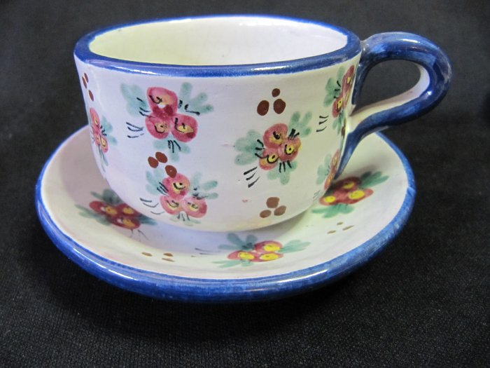 Vintage F.C.A. Peru Handpainted Blue Rim Dk Pink Floral Cup and Saucer
